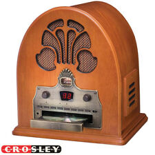 NEW Crosley CR32CD Retro Table Top Cathedral AM/FM Radio and CD Player Hard Wood