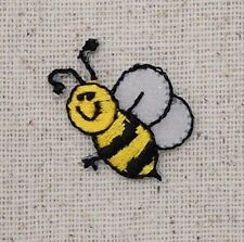 Small/Mini Bumble Bee Smiling - Yellow/Black Iron on Applique/Embroidered Patch