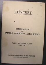 1948 Carter Community A.M.E. Church New York Concert Program
