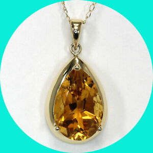 """4.40CT citrine solitaire pendant necklace 14K YG pear birthstone 18"""""""
