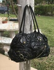 Juicy Couture Handbag Black Ruched Leather Jeweled Buckle Chain Bag Purse