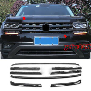 2018-2019 For Volkswagen Atlas Glossy Black Front Center Grille Grill Cover Trim
