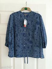 KEW (Jigsaw) Blue & White Patterned Cotton & Silk Shirt/Blouse - Size Medium NEW