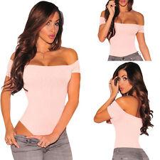 Off Shoulder Bodysuit Opaque Top Short Sleeve Blouse Shirt Club Bodysuit S-L US