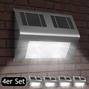 Außenleuchte Gartenlampe Solarleuchte 4x Wand LED Edelstahl Solar Garten Balkon