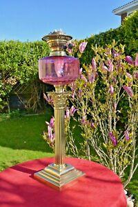 victorian twin burner oil lamp Cranberry font no damage