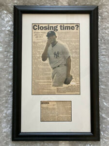 "Mariano Rivera Signed ""Closing Time?"" Associated Press Article Framed"