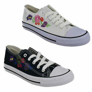 LADIES SPOT ON CASUAL LACE UP FLAT CANVAS FLORAL EVERYDAY TRAINERS SHOES F8R0371