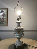 Vintage Hand Painted Porcelain Vase Table Lamp Wilmar Co. With Original Finial