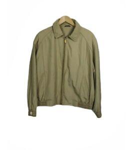ZILLI France Size 54 Vintage Beige Zip Leather Trim Mexico Silk Bomber Jacket