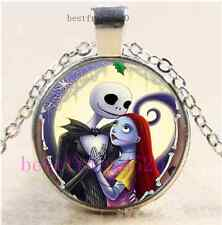 Jack And Sally Love Cabochon Glass Tibet Silver Chain Pendant Necklace