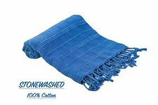 %100Cotton The Softest Turkish Towel STONEWASHED Beach,Bath SAND FREE  BLUE 