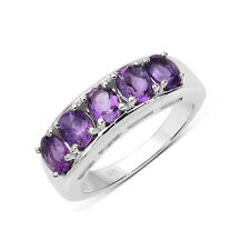 Five Stone Genuine Oval 5X4 MM Amethyst Sterling Silver Ring - Size 9