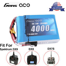 Gens ace 4000mAh 2S 7.4V TX Lipo Battery Pack For Spektrum DX9  DX8 Transmitter