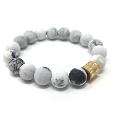 White Howlite Gemstone Beaded Stretch Bracelet Fashion Jewelry Bohoemian