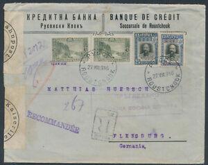Bulgarien Bankbrief Einschreiben Roustchouk 1916 Handzensur Breslau (2974)