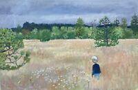 Impressionist Karl Adser Sommerwiese mit Blumen Juli mit Kind 49 x 75,5 cm