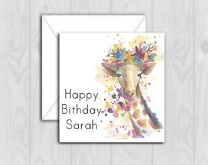 Giraffe Handmade Personalised card Birthday Mum Daughter Sister any name glitter