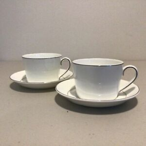 Set of 2 Royal Doulton White Finsbury Fine Bone China Cup and Saucer #403