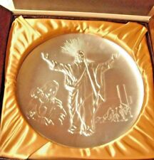 Hamilton Mint 1975 First Annual Easter Triptych Solid Pewter Plate NIOB