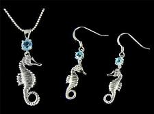 GENUINE BLUE TOPAZ SILVER 925 HAWAIIAN SEAHORSE PENDANT EARRINGS SET