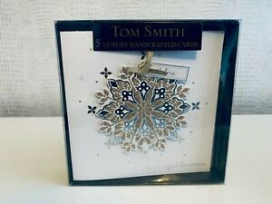 Tom Smith 5 Luxury Handcrafted Cards with Glitter Detail & Envelope