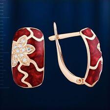 Russian solid rose gold 585 /14k red enamel, CZ flower earrings NWT Huggie style