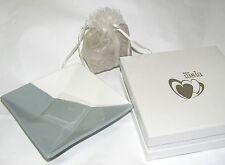 Piattino elegante porcellana bianco-grigio piatto bomboniera cm 13x13 art IL112