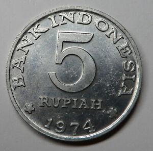 Indonesia 5 Rupiah 1974 Aluminum KM#37 UNC