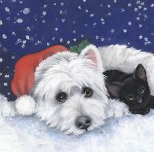 More details for limited edition print westie & black cat snow original painting by sue barratt