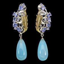 Briolette Blue Dyed Chalcedony 19x10mm Tanzanite 925 Sterling Silver Earrings