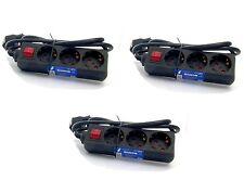 3x 3 Fach Steckdose Schwarz 1,4m mit Kinderschutz & Schalter Mehrfachsteckdose