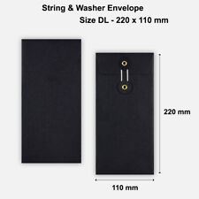 More details for dl size quality string and washer envelopes button-tie black mailer cheap