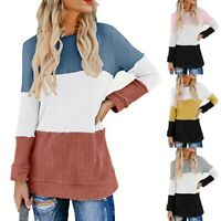 Womens Long Sleeve Color Block Shirts Knit Thermal Pullover Sweater Casual Tops