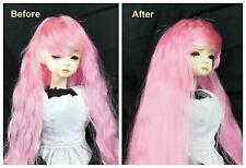 "1/3 8-9"" BJD SD DZ DOD LUTS Recurlable Doll Wig Pink Long Wavy w/ Bangs (Virgo)"
