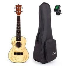 "23"" Concert Ukulele Solid Laminated 4 String Uke Hawaii Guitar WBag Tuner Gift"