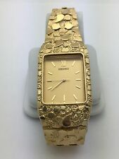 "New Men's Seiko 14K Solid Yellow Gold 8"" Nugget Style Wrist Watch Link 43 grams"