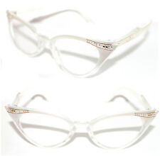 Women's 50's Cat Eye small white Clear Frame Clear Lens Eye Glasses Vintage 50s