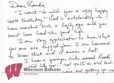 Pat Richter Hand Written & Signed Letter On Badgers Card Washington Redskins