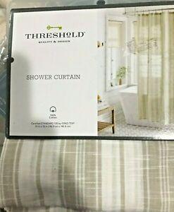 Tan Linen Stripe Shower Curtain 100% Cotton Threshold