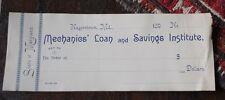 RARE MECHANICS LOAN AND SAVINGS BANK CHECK HAGERSTOWN MD CIRCA 1890 NOT A REPRO