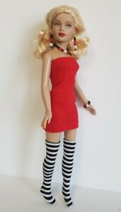 TINY KITTY Doll Clothes Red Dress B&W Stockings & Jewelry HM Fashion NO DOLL d4e