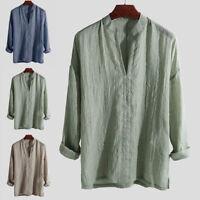 UK Men's Blend Long Sleeve Shirt Summer Cool Loose Casual V-Neck Shirts Tops