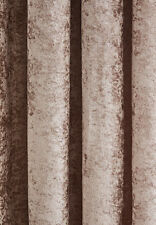 Crushed Velvet Lined Eyelet Mink Curtains (PAIR) - REDUCED TO CLEAR STOCK