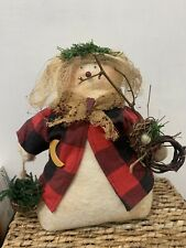 Primitive Rustic Plush Snowman Decor 14� Buffalo Plaid