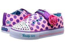 New Girls Skechers Twinkle Toes Light Up Rosey Spot Trainers Pink UK 6 EUR 23