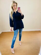 East 16 £49 Navy Blue Button Up Collarless Shirt Blouse Top Pleated Floaty Boho