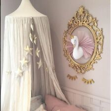 Golden Crown Swan Wall Art Hanging Girl Swan Doll Toy Wall Decor For Kids Room S