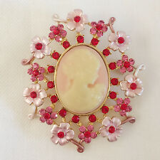 New Pink Flower Vintage Style Cameo Brooch & Pendant Pin Wedding Party BR1011