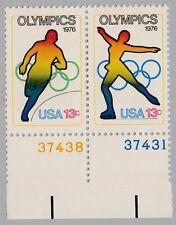 USA 1282 1283 Olympische Spiele 1976 Innsbruck und Montreal mit Plattennummer **